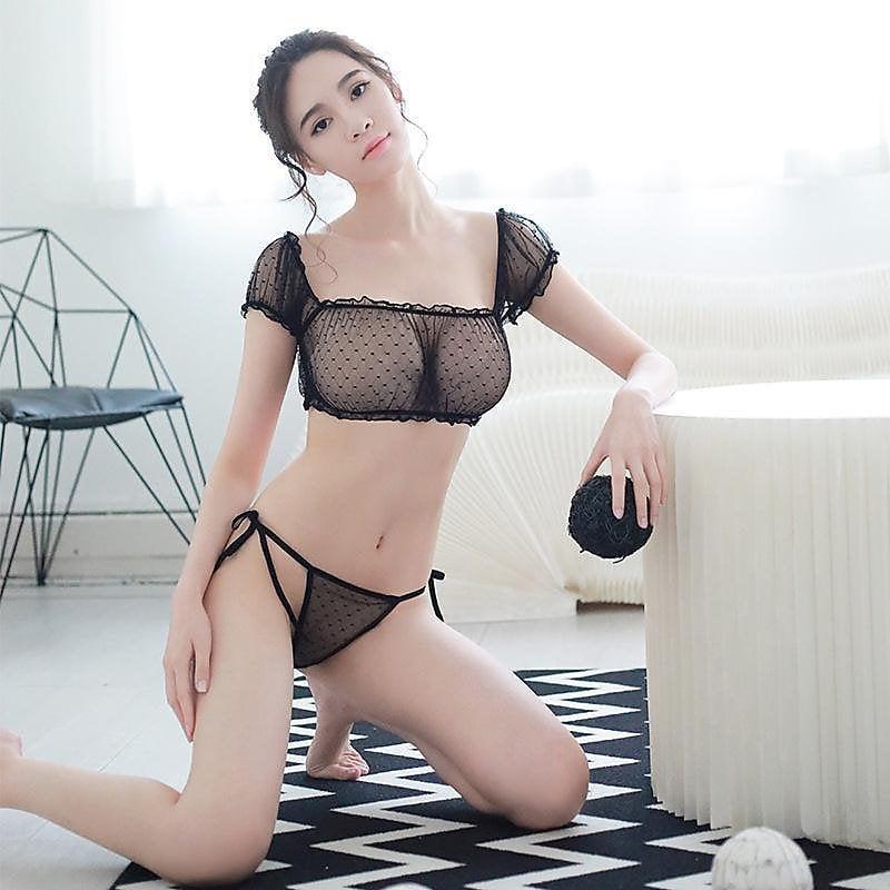 318百貨-歐美情趣內衣性感波點網紗女式三點蕾絲吊帶誘惑套裝