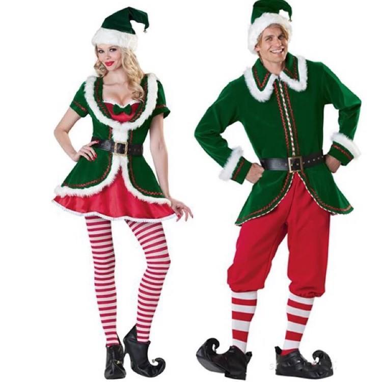 #熱賣#節慶變裝  圣誕節服裝綠色男女圣誕老人服裝高檔加絨保暖演出表演服圣誕衣服