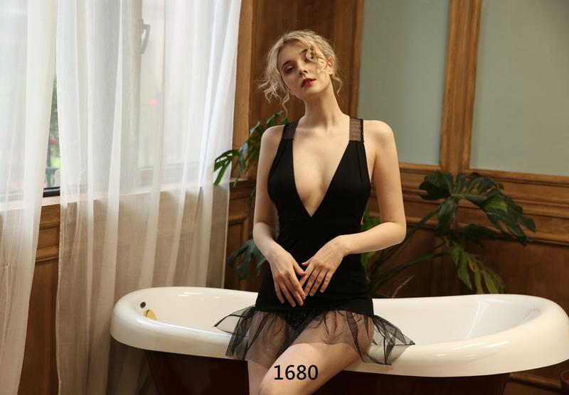 性感睡衣 角色扮演 黑色拼接薄紗深V情趣睡衣 制服誘惑 游戰制服1680~時尚花園館~