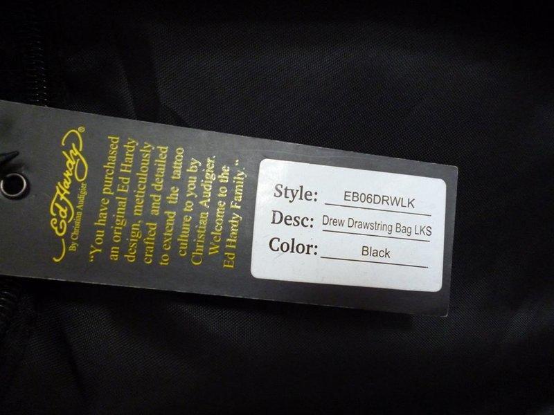美國 Ed hardy 100%正品 經典款 虎頭 黑色 抽繩 束口 後背包 背袋