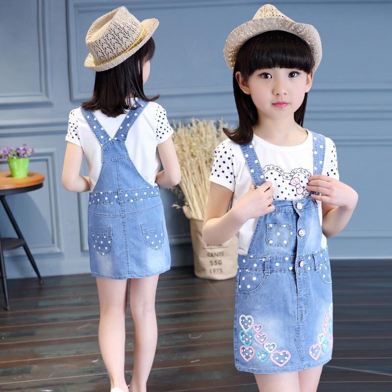 夏裝女童背帶裙夏季新款2016兒童裝純棉牛仔裙連衣裙女寶寶吊帶裙