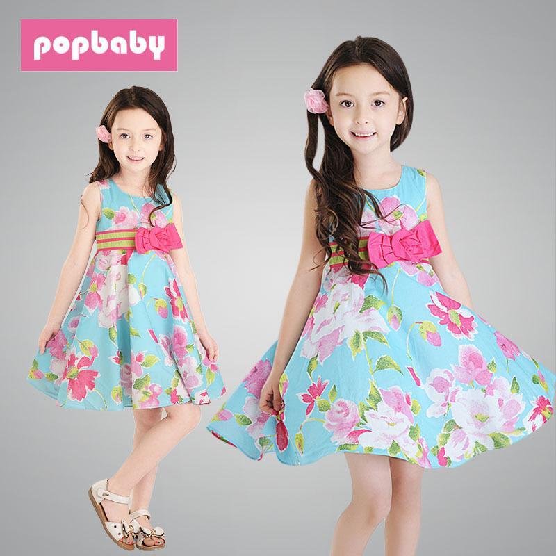 中大女童夏季新款裙韓版兒童全棉布碎花蝴蝶結公主連衣裙