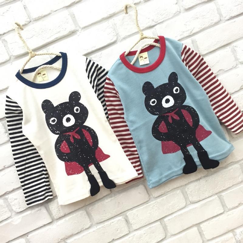 【班比納精品童裝】【台灣製】彈力勇敢超人熊條紋袖上衣-白/藍-兩色可選【BQ16100311】