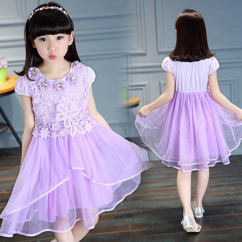 童裝女童2016新款連衣裙夏裝短袖純棉中大兒童夏季女孩裙公主裙子