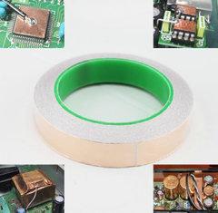 [含稅]單面導電紫銅箔自粘膠帶片貼紙接地 運放集成塊線路板變壓器遮罩寬度20毫米
