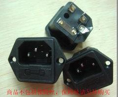 [含稅]3插品字 主機殼開關插座 10A220v電源AC插座 帶耳朵公座 帶保險絲座