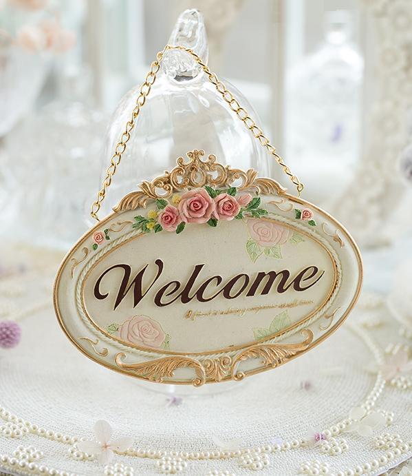 歐式淺色玫瑰Welcome歡迎牌(預購)/歐風田園家居/門牌/掛牌/家飾/掛飾/吊飾/壁飾