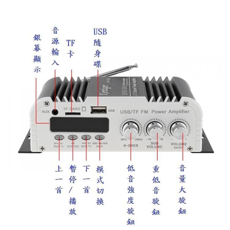 ~新品~Kentiger HY108 2.1聲道 多功能擴大機 車用/家用擴大機 USB/SD/MP3~現貨~