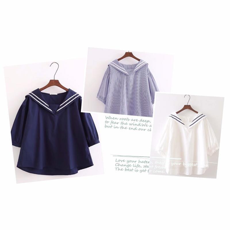 【晨曦貓】日系森林系 學院風海軍領寬鬆娃娃袖襯衫 BQ-90365
