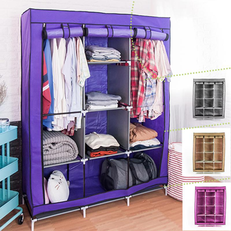 衣櫥 DIY組合衣櫃【免運】 超大三排加寬加高8格防塵衣櫥