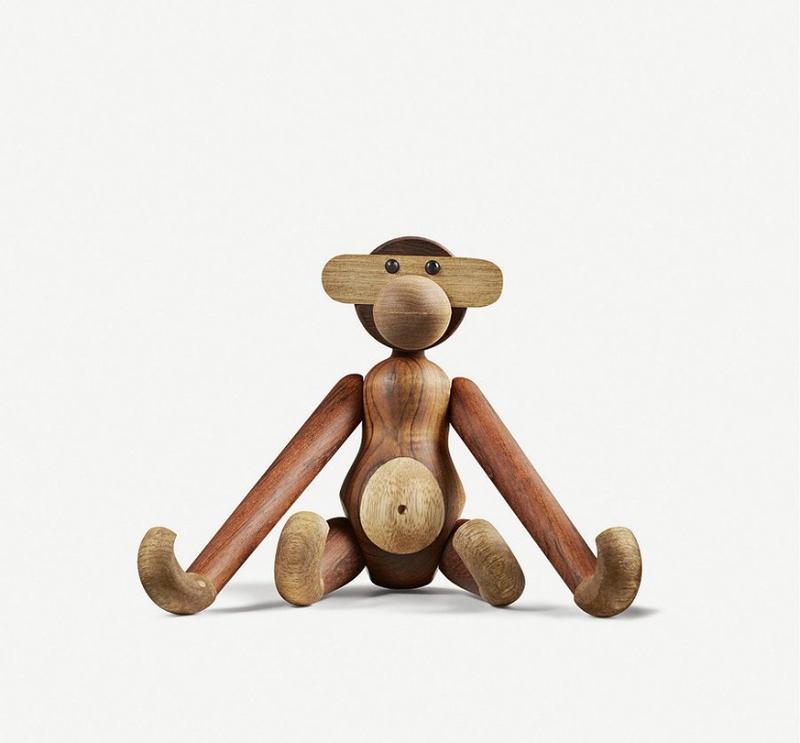 Kay Bojesen Monkey 丹麥 木猴中猴 造型 木質 家飾 擺飾 純手工製作 專屬木頭紋路 28cm