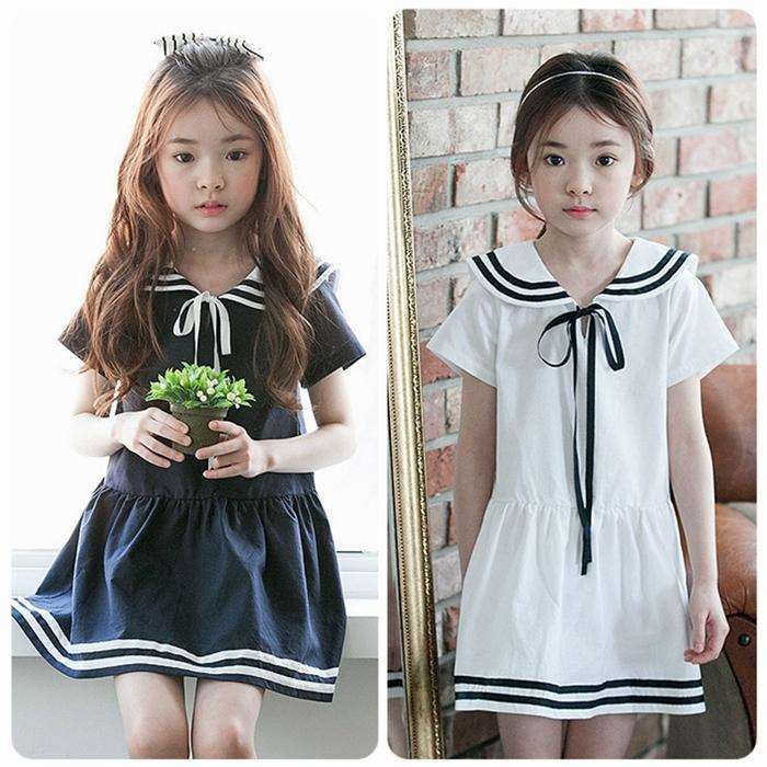 2016夏季女童裝韓國連衣裙新款韓版中大童學生純棉海軍學院風短裙