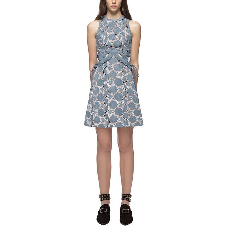 2860#2017春裝新款女 氣質麂皮星星系帶收腰荷葉邊鏤空連衣裙