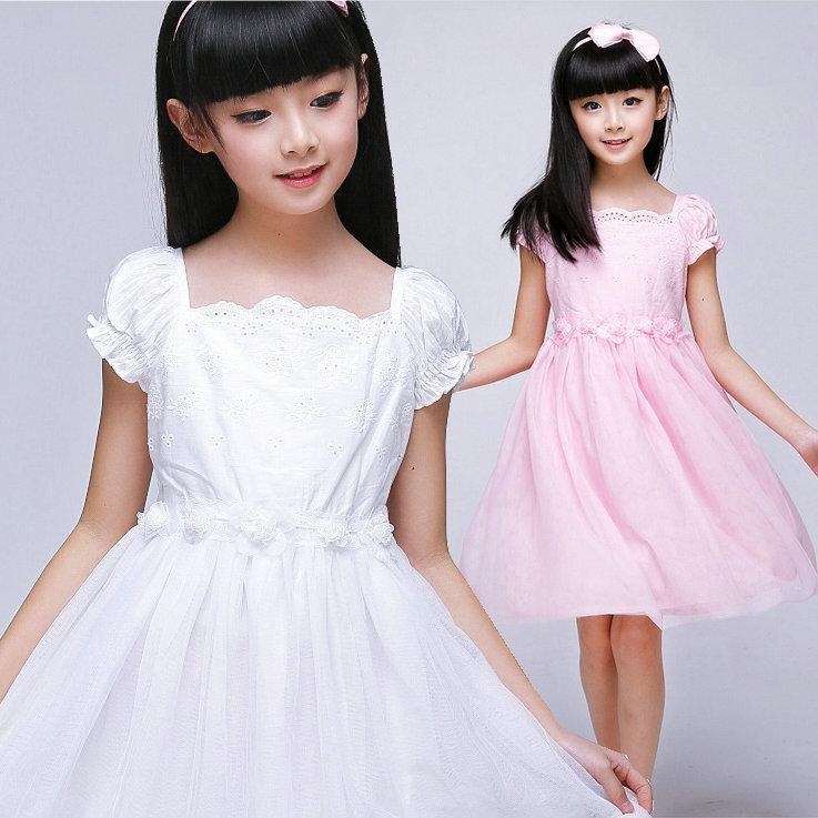 夏季女童連衣裙短袖大童公主裙白色粉色夏天兒童裝純棉百褶紗裙子