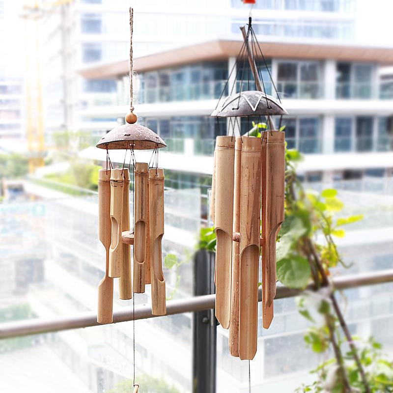 免運 KENS 創意家居裝飾茶室戶外手工竹製裝飾品秋季風鈴 收納筐 收納籃