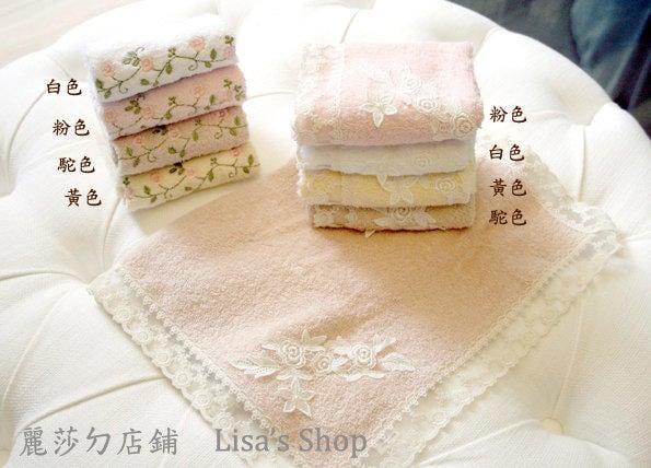 【麗莎ㄉ店鋪】『台灣製』純棉、蕾絲繡花 小方巾、毛巾、浴巾、枕頭巾系列