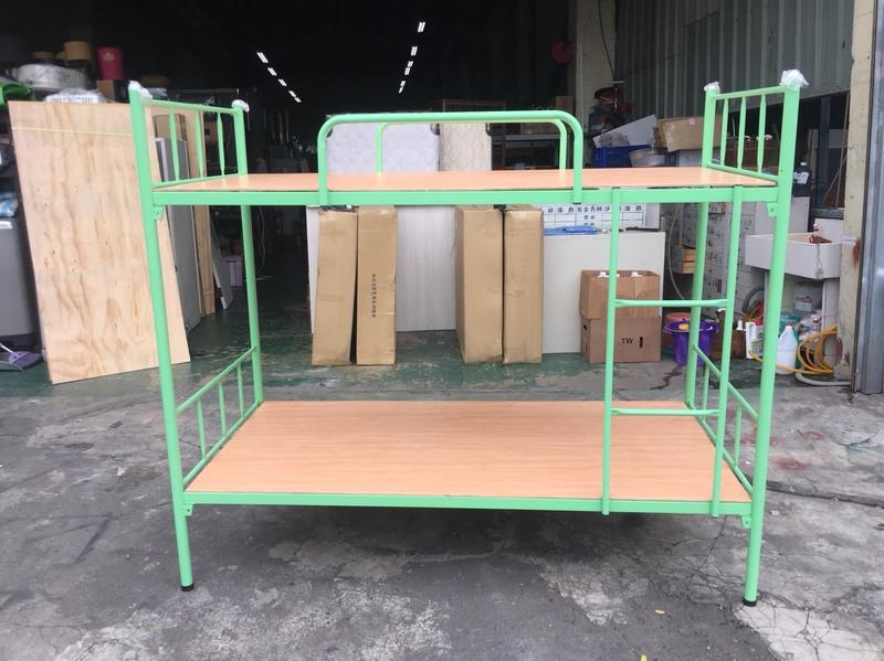 東鼎二手家具 全新 綠色小圓管 3尺雙層床*上下舖*實木上下舖*上下床*子母床*單人床架*二手床架*兒童床