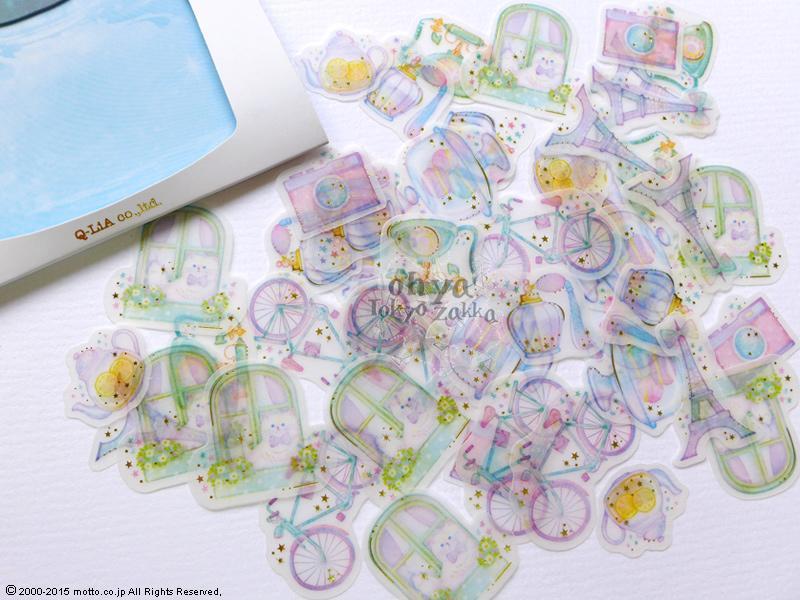 ☆OHYA東京雜貨☆日本進口 Q-LIA Jam Jelly 3彈 金箔描圖紙材質 貼紙包 -香榭麗舍的午後 01332
