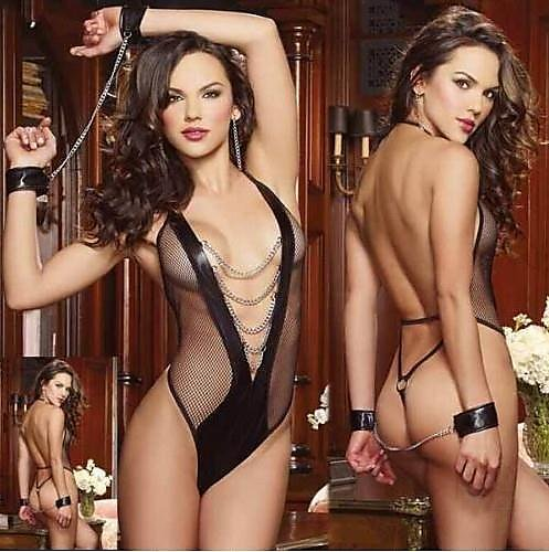 318百貨-歐美性感蕾絲開胸透明齊臀情趣吊帶裙 大碼爆款帶發