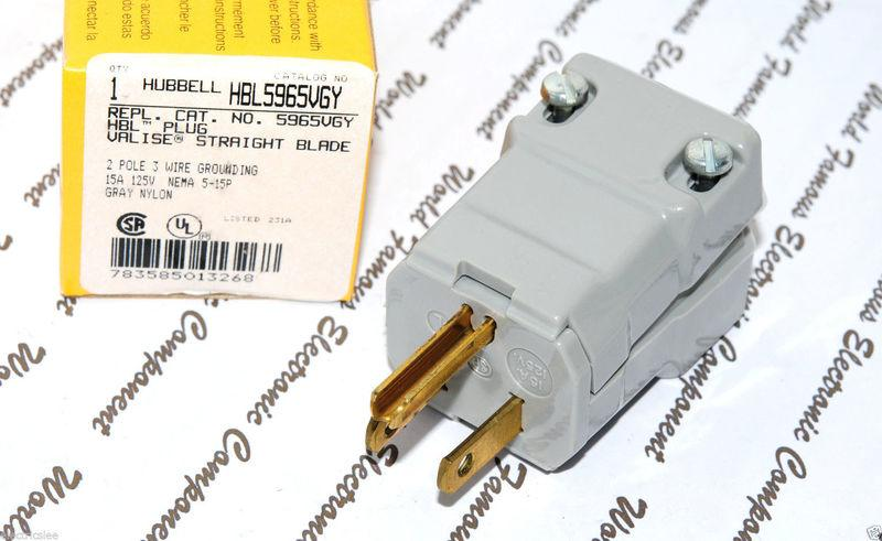 美國 HUBBELL HBL5965VGY NAME 5-15 15A 125V/110V 灰色 工業級插頭  1顆
