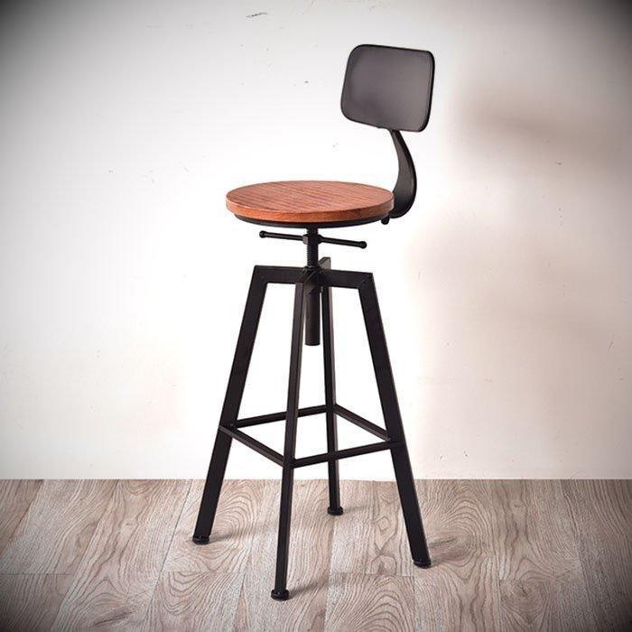 【松鐵工藝家居】復古工業風美式loft輕工業鐵藝歐式高凳子吧台椅家用升降椅簡約現代高腳凳帶靠背酒吧椅實木餐廳咖啡廳品東西