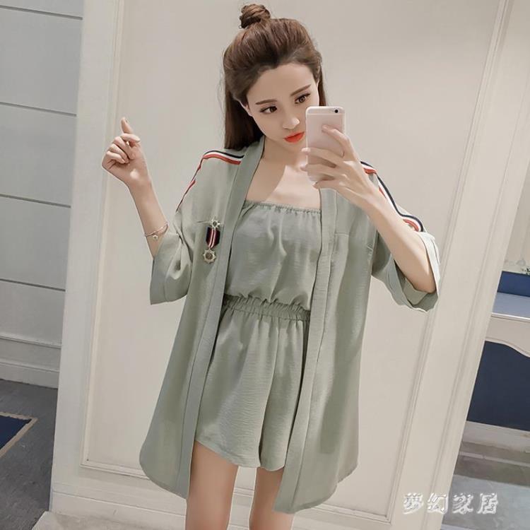 【可開發票】雪紡短袖兩件套女2019新款韓版洋氣時尚休閒短袖套裝 QW3116※優品百貨※