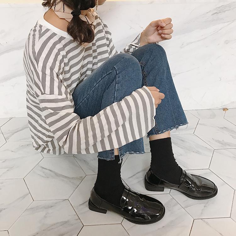 999小舖樂福鞋女2019春秋季新款低粗跟女鞋豆豆單鞋子圓頭學院