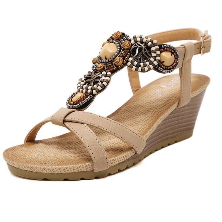 新款羅馬涼鞋 波西米亞串珠舒適搭扣坡跟鞋z7387 一級棒Al免運 可開發票