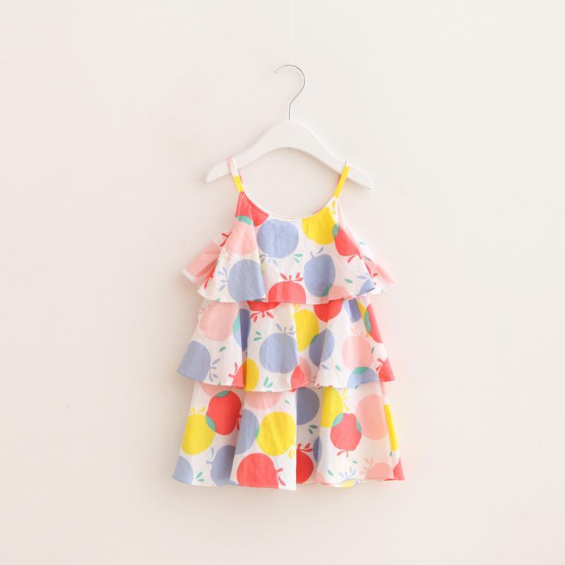 童品*兒童裝女童蘋果印花疊層純棉蛋糕裙吊帶裙連衣裙2016夏季