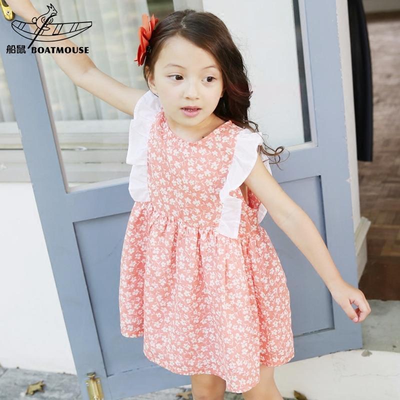 船鼠女童背心裙2016韓版童裝碎花寶寶裙子無袖兒童連衣裙夏季純棉