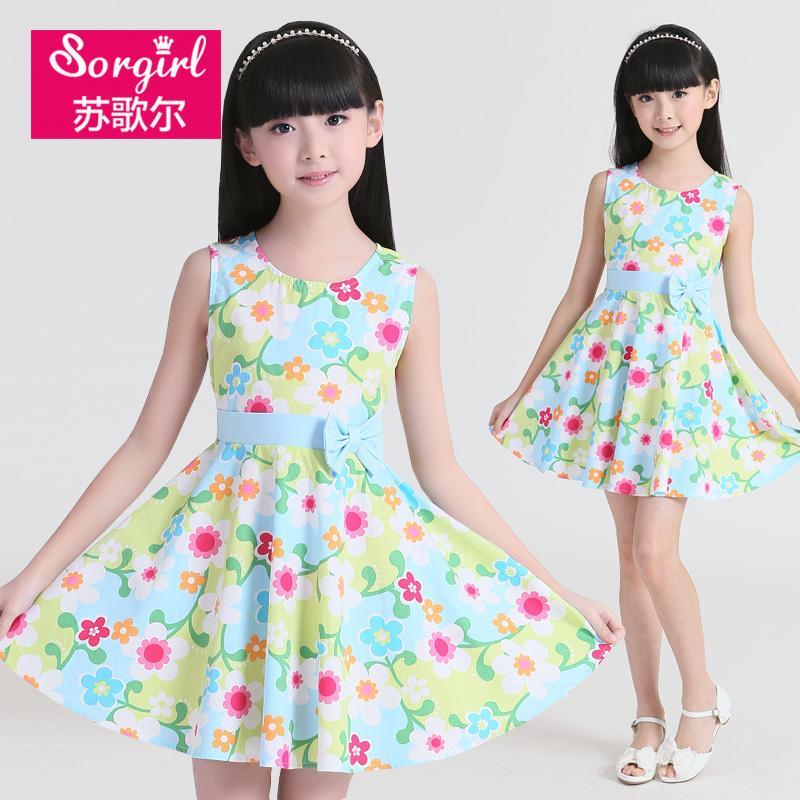 童裝女童2016夏季新款兒童連衣裙中大童公主裙女孩純棉字裙子