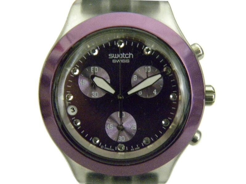 [專業模型] 三眼錶 [SWATCH P3345] 斯沃琪 三眼計時賽車錶[紫色面+3眼+日期]石英/中性/潮錶