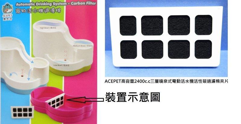 *優寵物*ACEPET高容量4公升三層噴泉式電動淨水器/活水機NO.912/飲水器專用活性碳過濾夾片/過濾蕊/過濾棉特價