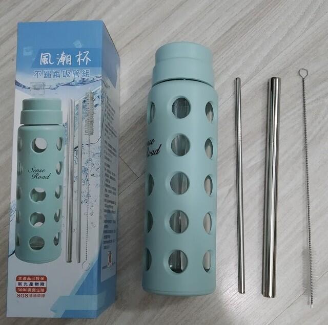 台灣製風潮玻璃杯不鏽鋼吸管組(玻璃杯+304不鏽鋼吸管組)