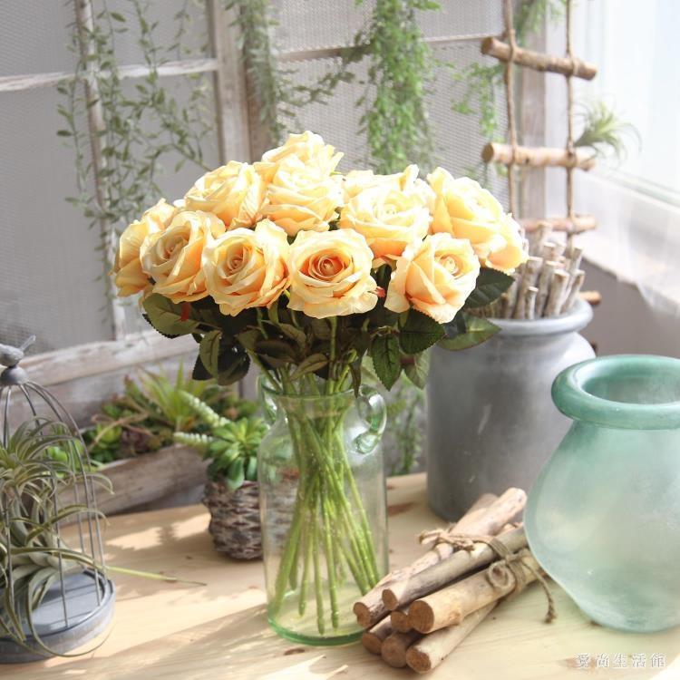 仿真玫瑰花假花套裝高檔客廳餐桌裝飾花干花花束擺件擺設花藝 AW1628--優的館