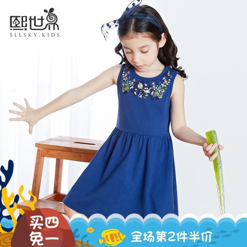 熙世界童裝 夏季純棉圓領兒童背心裙無袖針織女童連衣裙034