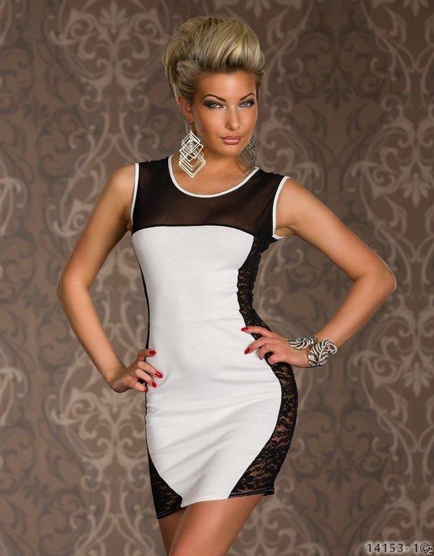 歐美新款夜店側邊摟空蕾絲透明網布拼接撞色修身洋裝包臀連身裙 N171