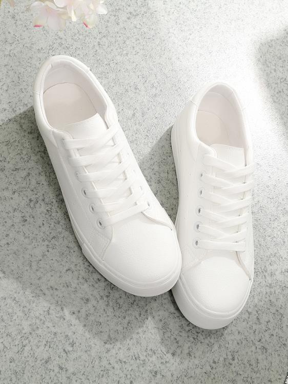 小白鞋秋款皮面小白鞋女2019百搭基礎平底新款白鞋板鞋透氣夏款潮鞋 一級棒Al新品 全館免運