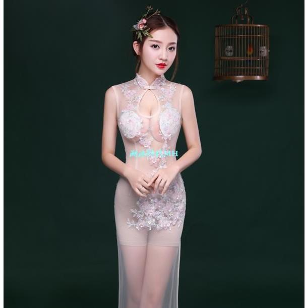 夜店禮服女2017新款性感女裝車模透視裝鑲鑽蕾絲晚禮服長款裙白色