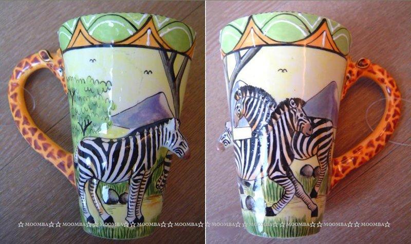 ☆MOOMBA☆ South Africa 南非 手工製 動物 長頸鹿手把 彩繪 陶杯 - 斑馬 INTU-ART COFFEE MUGS GIRAFFE HANDLE #467