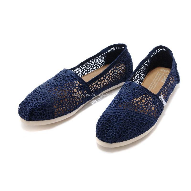 現貨 出清 零碼 全新 美國正品TOMS鞋 Crochet 蕾絲簍空款【深藍色】