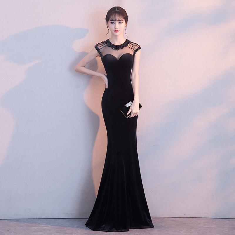 晚禮服女2017新款宴會黑色名媛主持人女性感魚尾長款修身顯瘦冬季