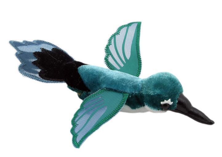 14126c 日本進口 限量品 好品質 綠色小鳥蜂鳥鳥類 動物手指手上玩偶絨毛娃娃毛絨絨表演玩偶收藏品擺飾禮物