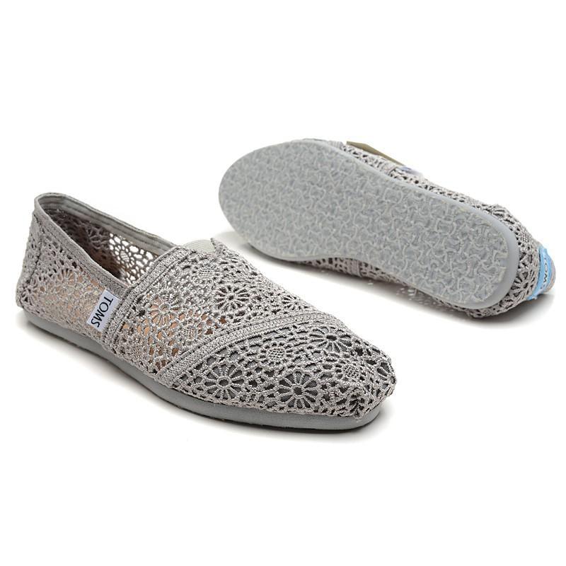 現貨 出清 零碼 全新 美國正品TOMS鞋 Crochet 蕾絲簍空款【灰色】
