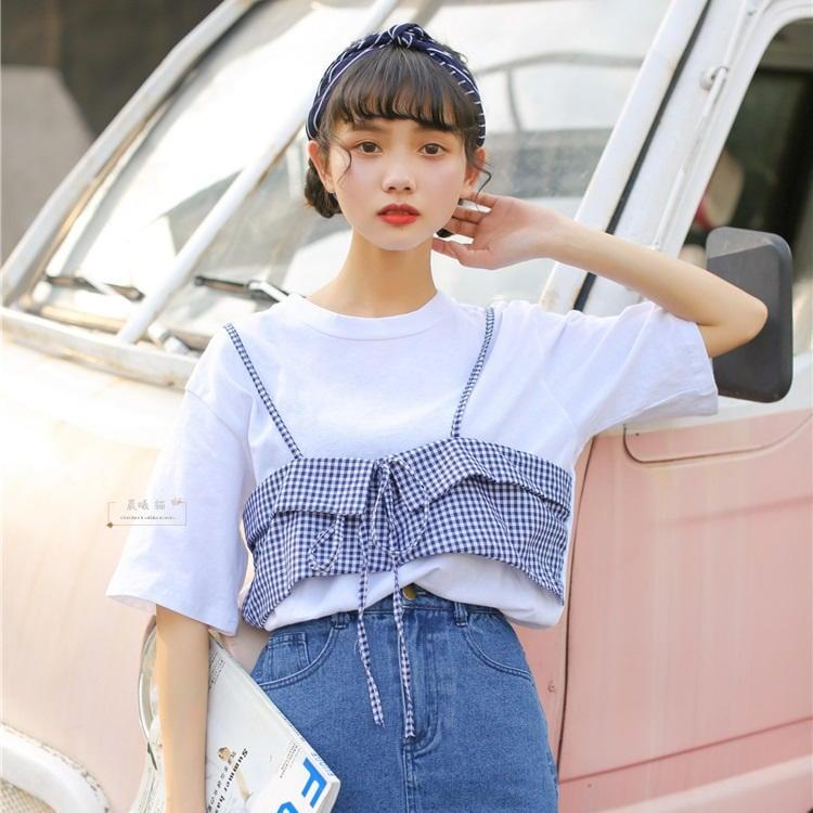 【晨曦貓】日系森林系 拼接假兩件格子圓領短袖T恤 BQ-90367
