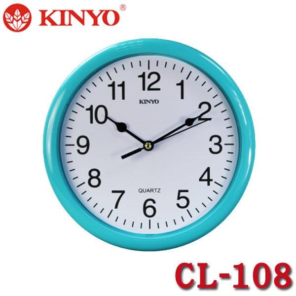 【MR3C】含稅附發票 KINYO金葉 CL-108 白面黑字 精緻圓形掛鐘 3色:藍框 綠框 粉紅框