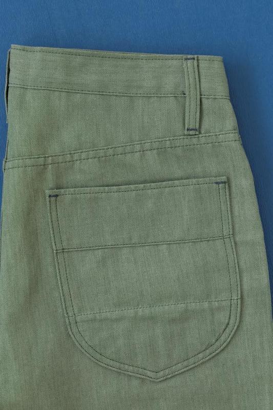 【BDD荷蘭職人品牌】錐形工作褲 義大利頂級棉麻布邊 Talon拉鍊 復古橄欖綠 / W28-38