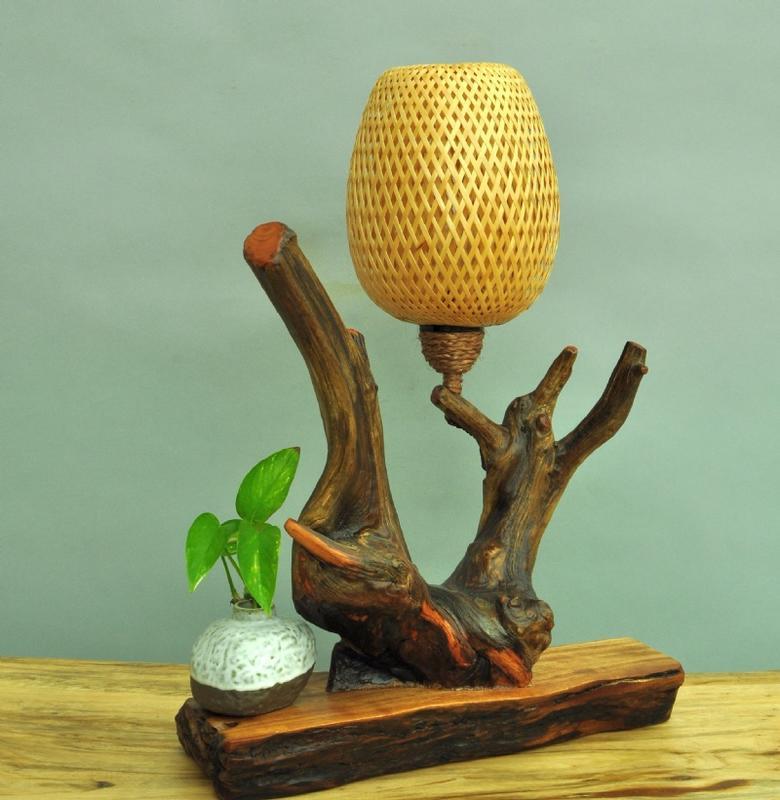 樹燈之家 CE025 崖柏雙層竹編燈罩 桌燈 檯燈 創意燈飾 崖柏燈