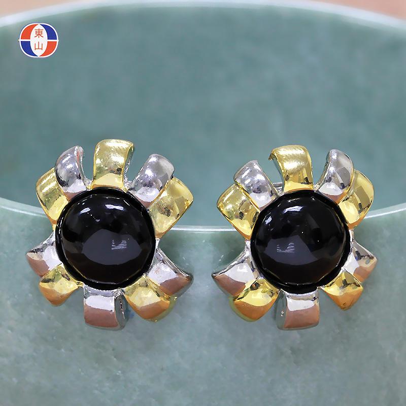 天然寶石水晶無耳洞耳環巴西砭石耳夾黑石螃蟹花耳飾TBT4341入