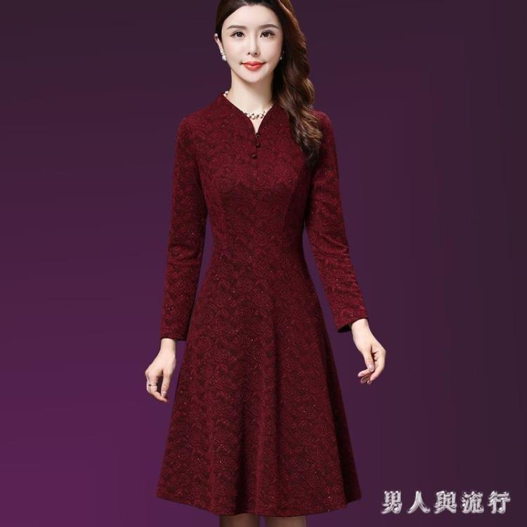 中大尺碼媽媽禮服 媽媽裝連身裙長袖秋裝新款高貴中年女裝修身禮服 DR600
